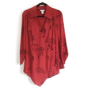 Soft Surroundings Asian Print Tunic Top Red Size L
